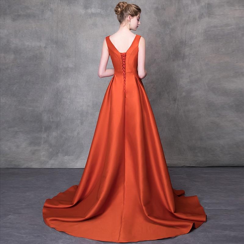 Z Up Longue Soirées Balayage Proms Femmes V Pour Parti Train Diamants 2018 Cérémonie De Gala Robe Élégant Date Robes Gratuating cou 7 Orange nw18q8CHTf