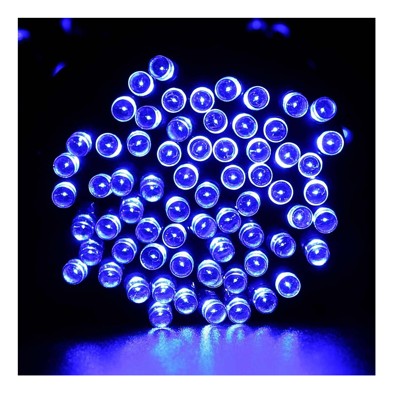 33FT 10m 50 LED Solar Powered Fairy String Lights Waterproof for Outdoor, Gardens, Homes, Wedding, Christmas PartyBlue)