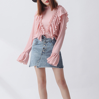 New Fashion Women Long Sleeve Pleated Ruffles Blouse Loose Flare Sleeve Shirts Spring Summer Tops Pink