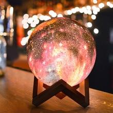 شحن USB الملونة ثلاثية الأبعاد السماء المرصعة بالنجوم ضوء القمر التحكم باللمس LED ضوء الليل لعيد الميلاد هدية عيد ميلاد ديكور المنزل انخفاض الشحن