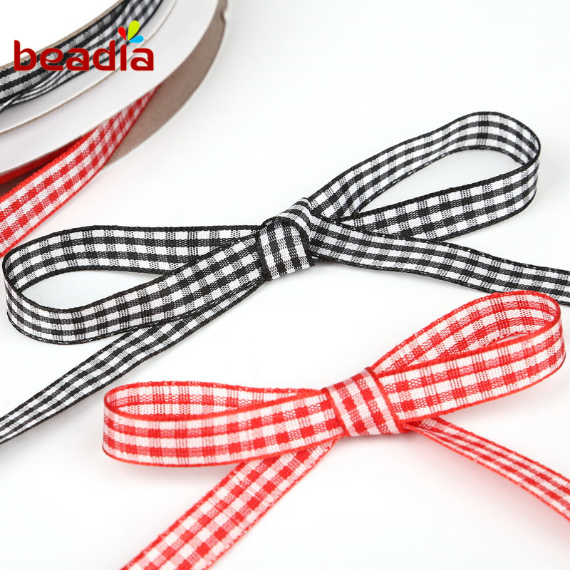 6 Sizes 60 Yards Christmas Plaid Burlap Ribbon Christmas Gingham Wrapping Ribbon for Christmas Crafts Decoration Floral Bows Craft Red, Black