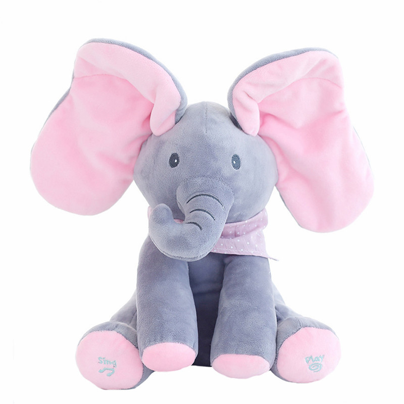 Large Animal Doll Toy Peek A Boo Elephant Play Music Educational Sleeping Animals Toys Girls Birthday For Children Kids TY0320 plush peek a boo dog toy peek a boo singing baby music toys ears flaping move interactive electronic pet doll children kids gift