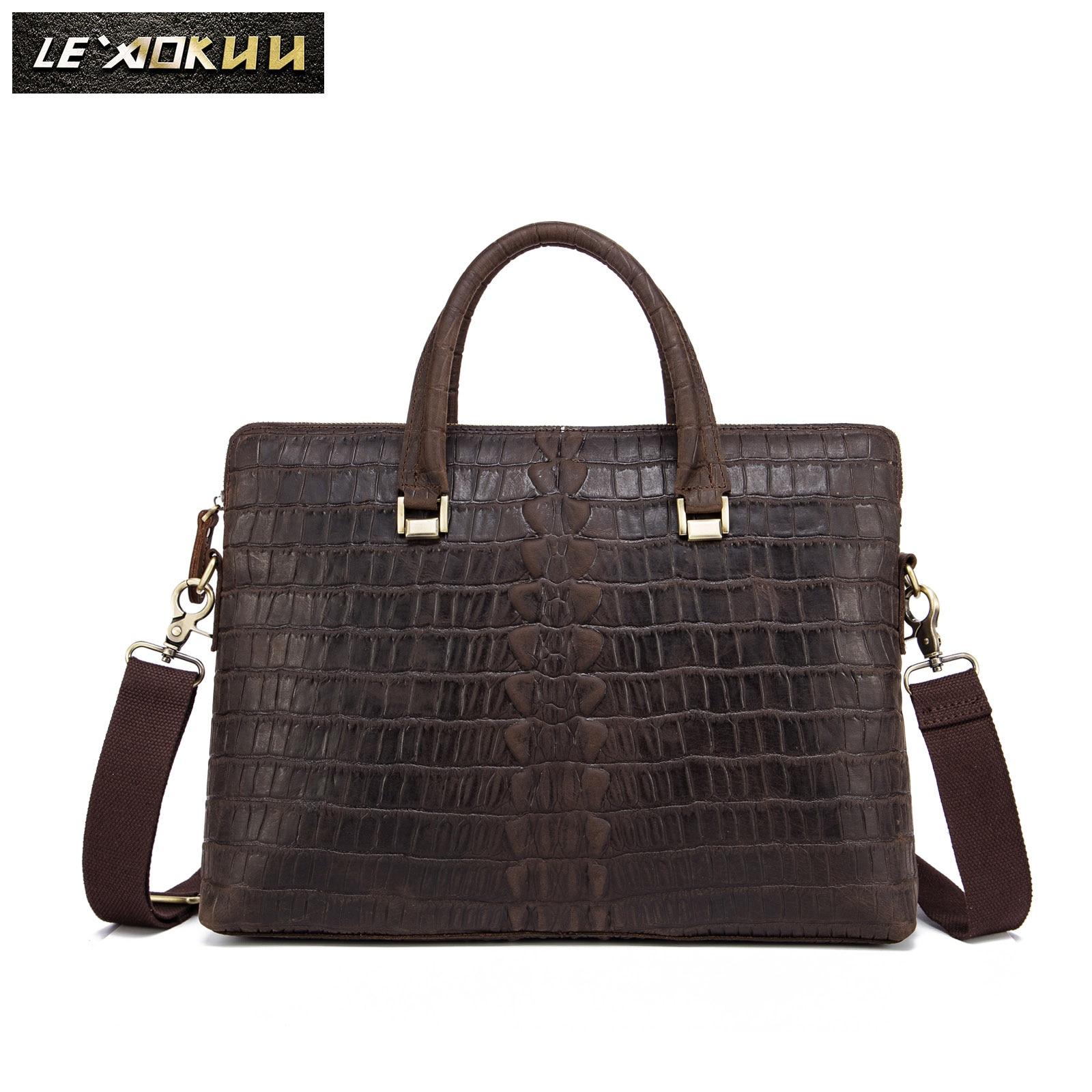 Men Genuine Leather Black Designer Business Briefcase Fashion 16