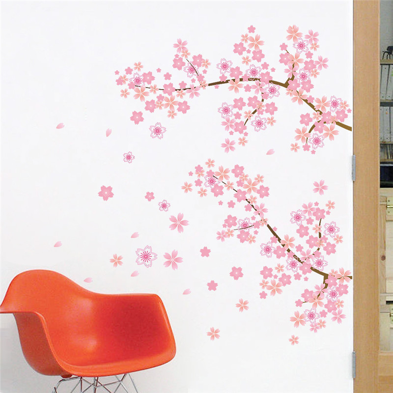 Pink Cherry Blossoms Tree Romantic Garden Diy Home Decal Wall Sticker Girls  Bedroom Wall Art TV Background Decorative Poster In Wall Stickers From Home  ...