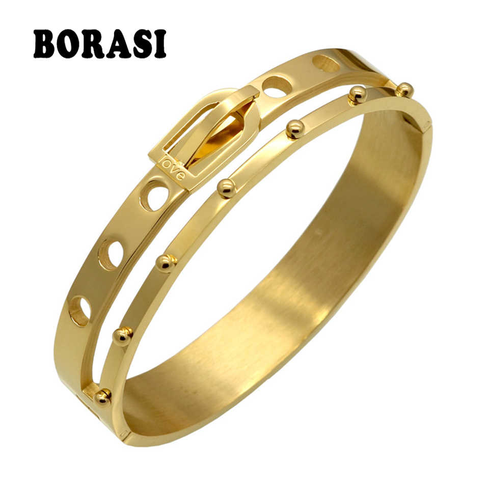BORASI Brand Design Belt Buckle Wide Cuff Bracelets & Bangles Armband Love Gold Color Bracelets For Women Manchette Jewelry