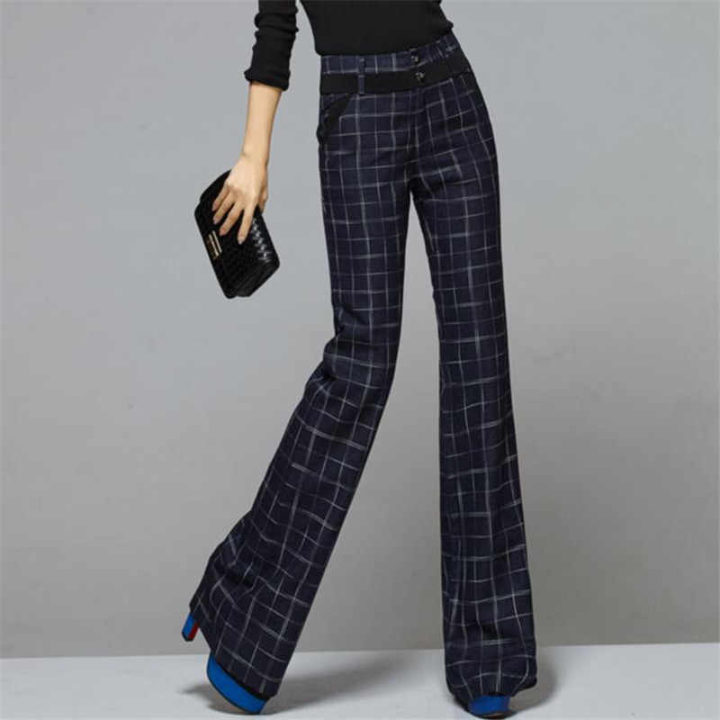 New Women Plaids Wide Leg Pants Loose Woolen Trousers Straight Long Blue Gray England Ol Style Pant Female A3949
