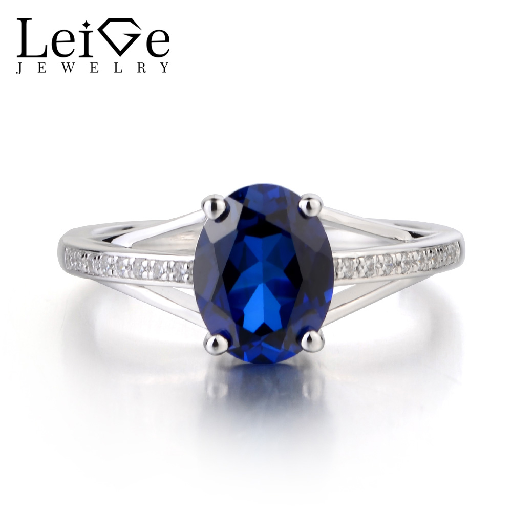Leige Jewelry Lab Blue Sapphire Ring Oval Cut Gemstone September Birthstone Engagement Ring 925 Sterling Silver Ring for Women leige jewelry oval cut lab blue sapphire promise ring 925 sterling silver ring gemstone september birthstone halo ring for her