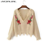 JYConline 2017 Autumn Sweater Women Embroidery Knitted Winter Women Sweater And Pullover Female Floral V Neck
