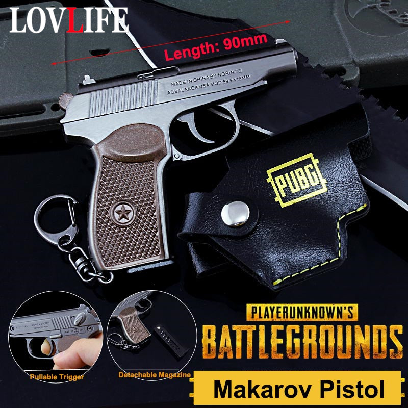 Small 9cm Makarov Pistol Weapon Model Toy Key Chains Alloy Detachable Gun Keychain Key Rings Pendants Game PUBG Fans Men Gifts