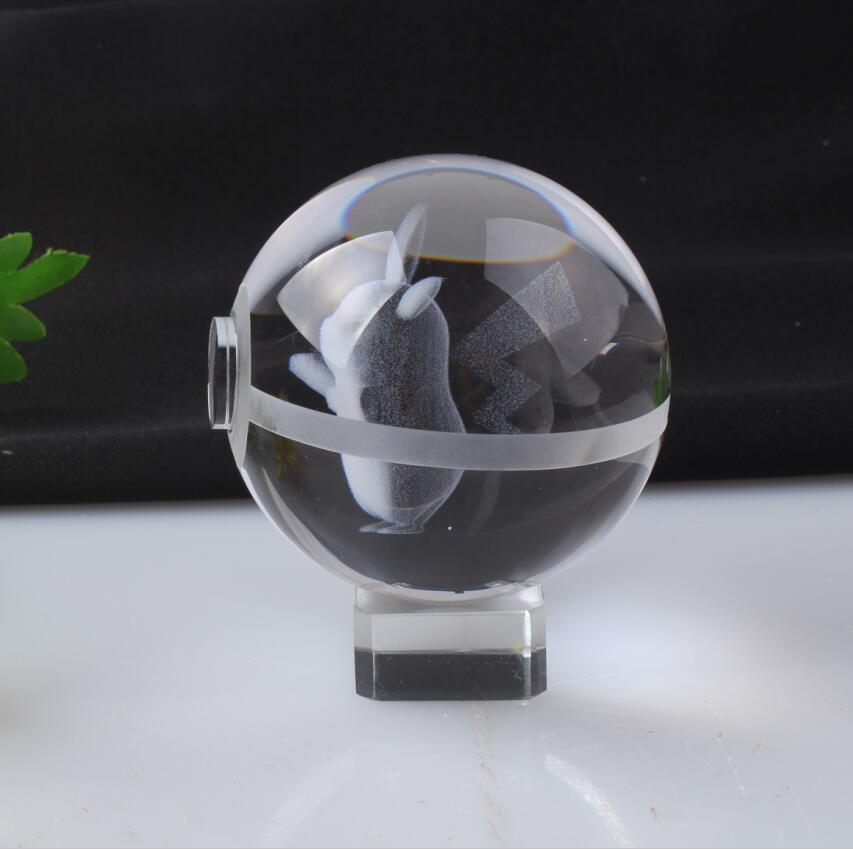 New Style Pokemon Ball With Pikachu Engraving Crystal Ball With Base With Gift Box