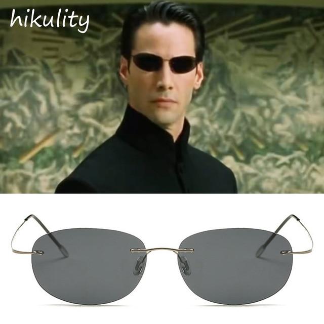 86161 de Titânio Ultraleve Matrix Keanu Reeves Neo Óculos De Sol Dos Homens  Da Marca Do 3070af6fb3
