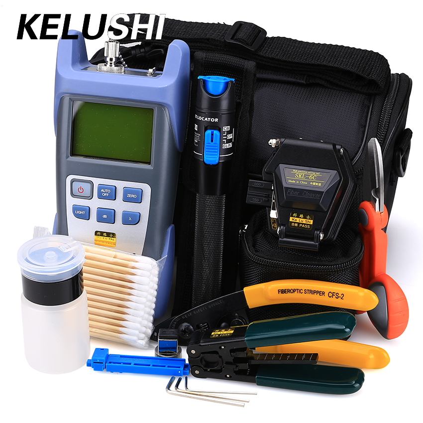 KELUSHI 18 buc / set FTTH Set de instrumente cu SKL-6C Cleaver Fibre Optical Meter 1mW Vizualizator de defecte Fibre optice Stripper