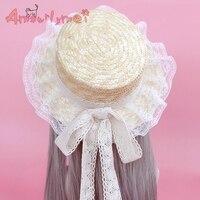 Летние соломенные Шапки для Для женщин Beach Sun Hat японский Стиль в стиле «Mori Girl» и Лолита Kawaii принцесса Шнуровка с бантиком соломенная шляпа Же...