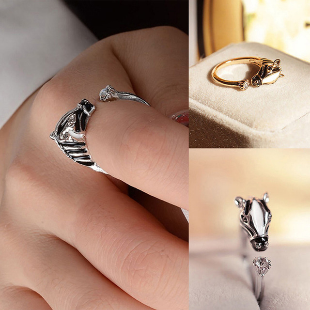 Women's Fashion Good luck Crystal Open Ring Elegant Trendy Animal Horse Head Ring For Women Fashion Jewelry 1PCS 2