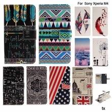 Funny Word Printing Flip Leather Coque Case For Sony Xperia M4 Aqua Case Cover For Sony M4 Aqua Case E2333 E2353 Phone Bags