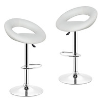 New 2pcs Synthetic Leather Adjustable Swivel Bar Stools Chairs Pneumatic Heavy Duty Counter Pub Chair 2