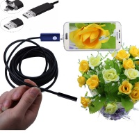5pc A Lot 2IN1 7mm Lens Usb Endoscope Android OTC Snack Pipe Inspection Borescope Camera Waterproof