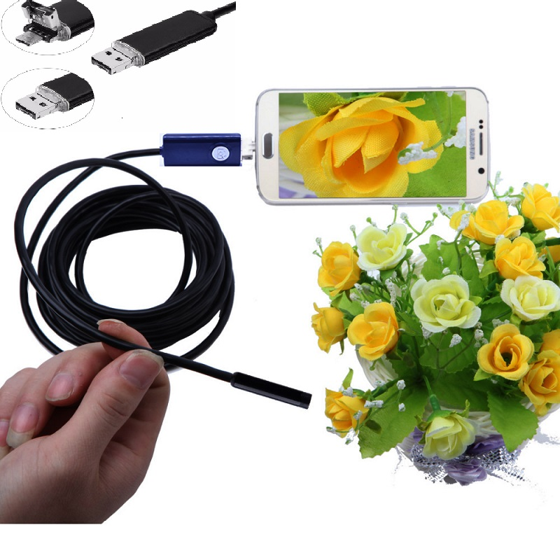 5pcs a Lot 2IN1 7mm Lens Usb Endoscope Android OTC Snack Pipe Inspection Borescope Camera Waterproof 2M Security Cctv Camera