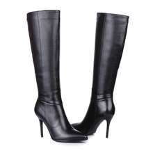 666-29 2014 plus size Ladies Fashion winter women botas mujer shoes genuine leather bottes femmes high heels long casade boots
