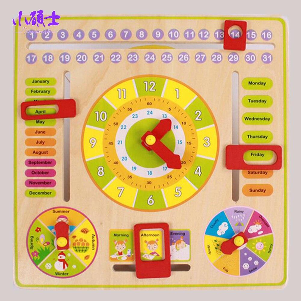 Wooden Multifunctional Clock Calendar For Children Kids ...