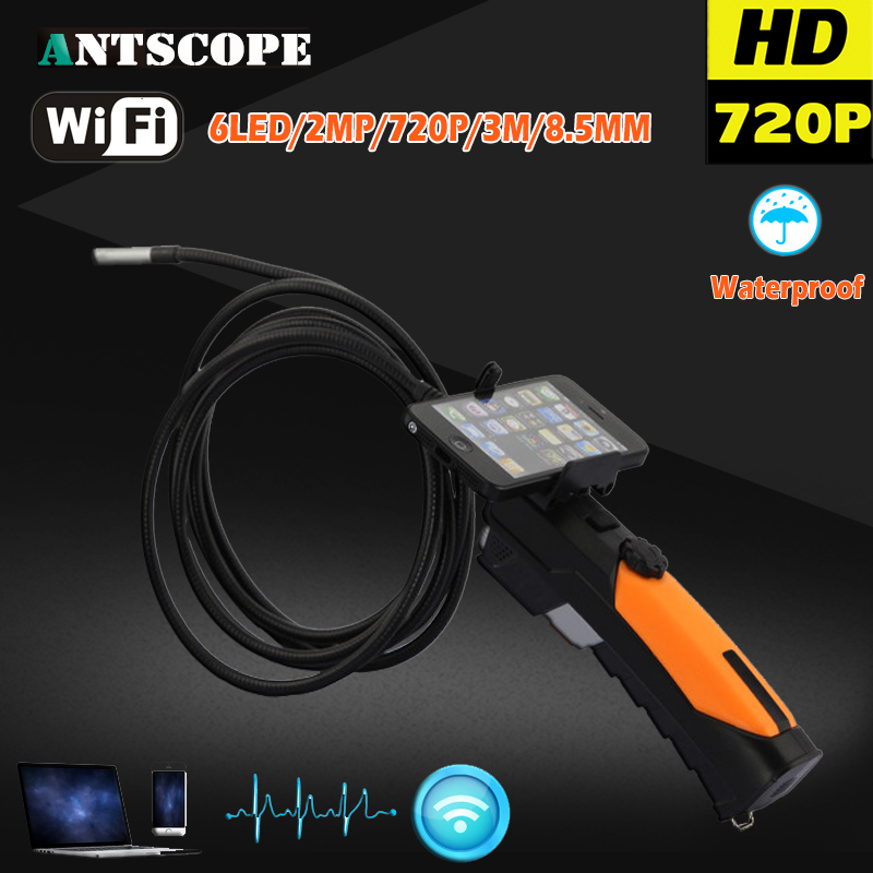 Handheld HD 720P Wireless WIFI Endoscope Video Inspection Snake Camera 2.0 Mega Pixels Cable 8.5mm Diameter 3M Borescope Android