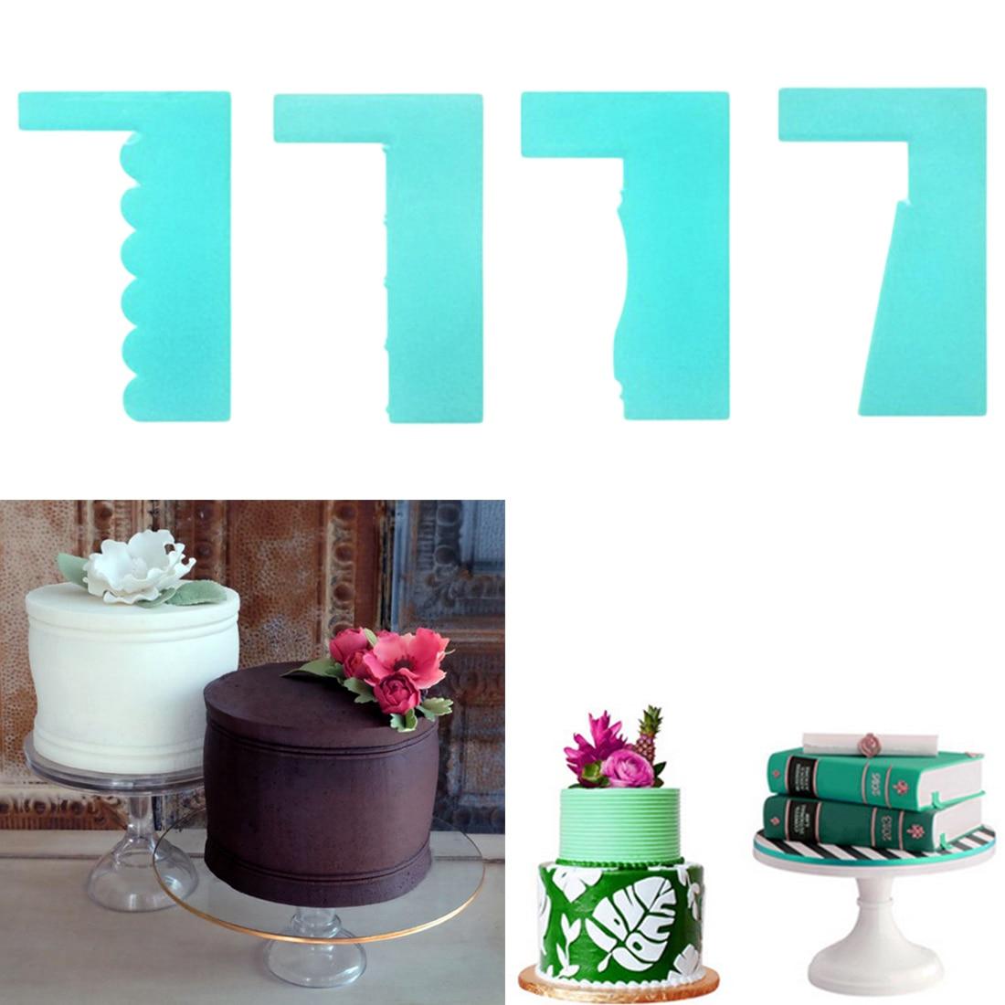 6Pcs Cutter Pastry Dough Fondant Cream Decorating Cake Scraper Edge Tools VE