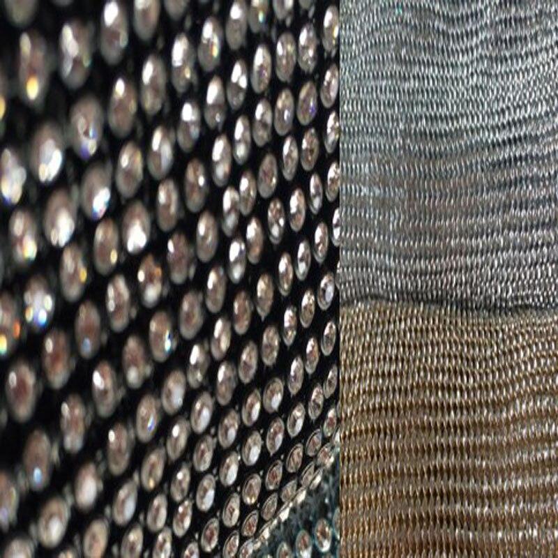 45x120cm Glitter 4mm Clear Rhienstone Metal Mesh Fabric Metallic Cloth Metal Sequin Sequined
