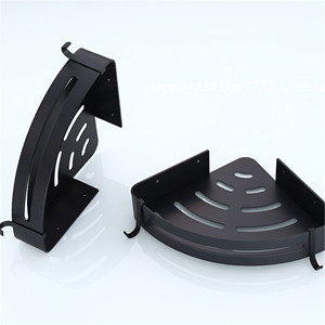 Image 5 - Przestrzeń aluminium czarny łazienka półki rogu do montażu na ścianie prysznic Rack szampon do przechowywania wieszak na ręczniki łazienka akcesoria