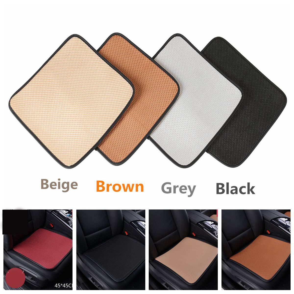 1pcs Car Seat Covers Pad Breathable Mesh Ice Silk Cool Summer Front Seat Mat Cover Non Slip Pads Chair Universal lk 33 ice silk mesh massage cushion pad for car seat black