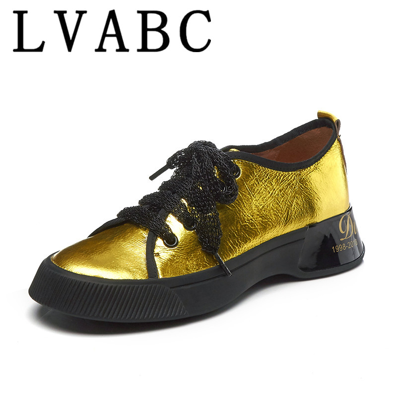 LVABC 2019 big size cow patent leather round toe increasing solid sneaker elegant platform casual women
