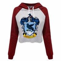 Hogwarts Gryffindor Ravenclaw Hufflepuff Slytherin Schools Womens Fashion Print Cropped Hoodies Sweatshirt Custom Pullovers