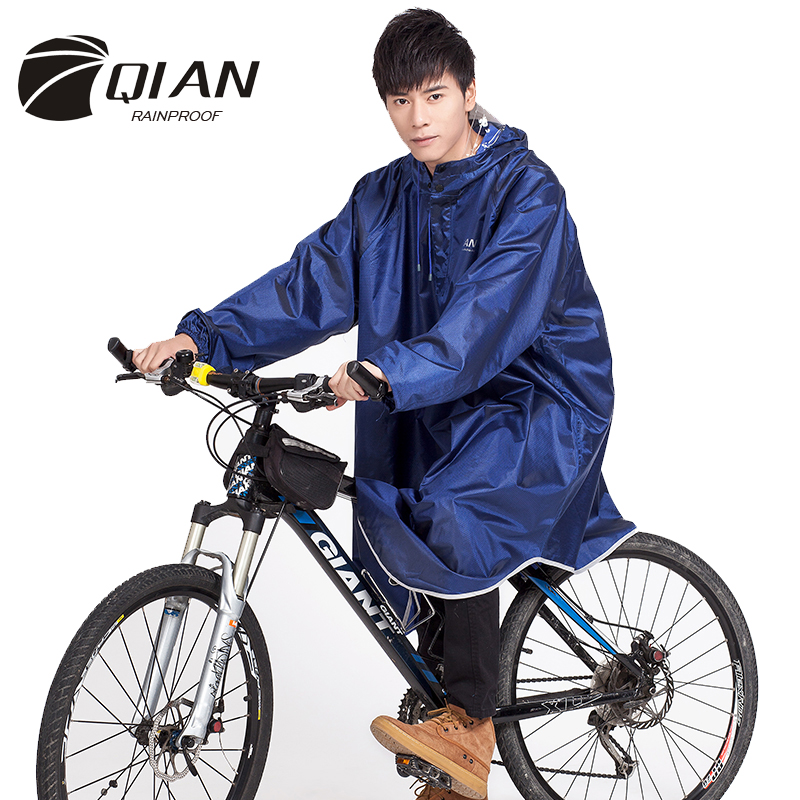 QIAN RAINPROOF Adult Outdoor Poncho Raincoat Thicker Oxford Waterproof Sleeves Opening Design Cycling Camping Equipment Rainwear