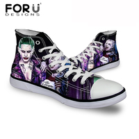 FORUDESIGNS Men S Canvas Shoes Teens Boys Animation Harley Quinn Queen Printed Flats Shoes For Men