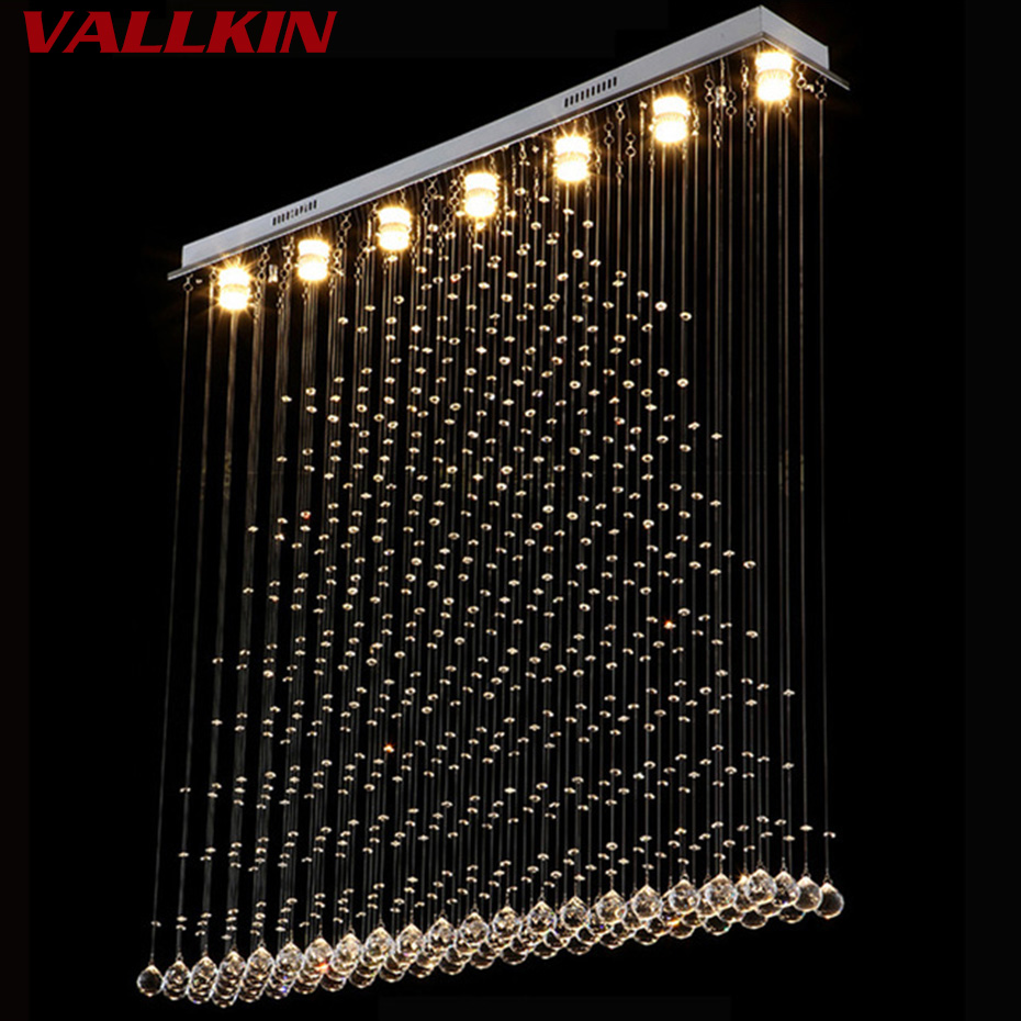 2018 Modern LED Simple Pendant Lights For Living Room Dining Room Lustre Pendant Lamp Hanging Ceiling Crystal Lamp Fixtures modern led simple pendant lights for living room cristal lustre square pendant lamp hanging ceiling fixtures zdd0070