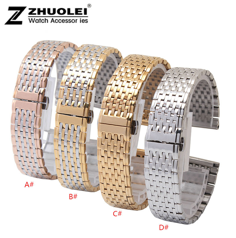 For L4 Watch bands 13mm 18mm Silver gold rose gold stainless steel Watchband Strap Bracelets Double Push Deployment Watch Buckle