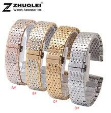 Pour L4 bracelets Montres 13mm 18mm Argent or rose or Bracelet en acier inoxydable Bracelet Bracelets Double Poussoir Déploiement montre Boucle