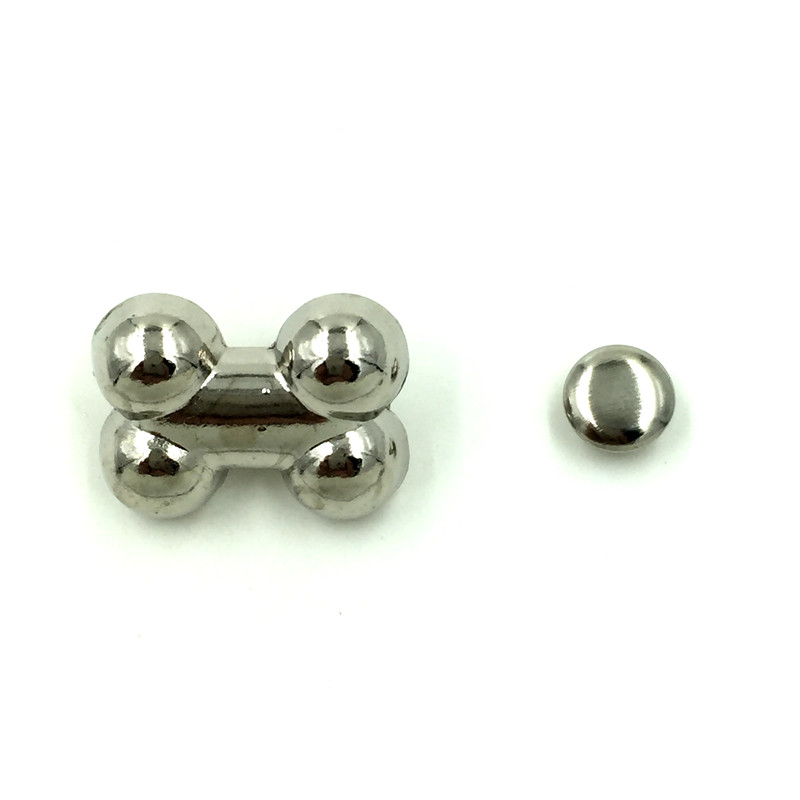50 Sets Punk Bone Os Spike Rivets Studs Spots Silver Tone Bags Crafts Clothes Shoes Findings 19x14mm