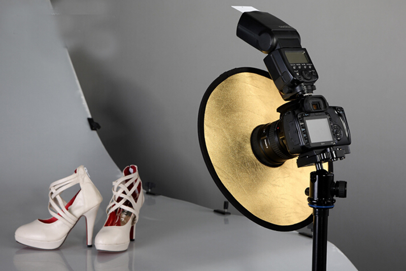 2in 1 plegable de oro / plata Micro anillo redondo luz toma de retrato Reflector
