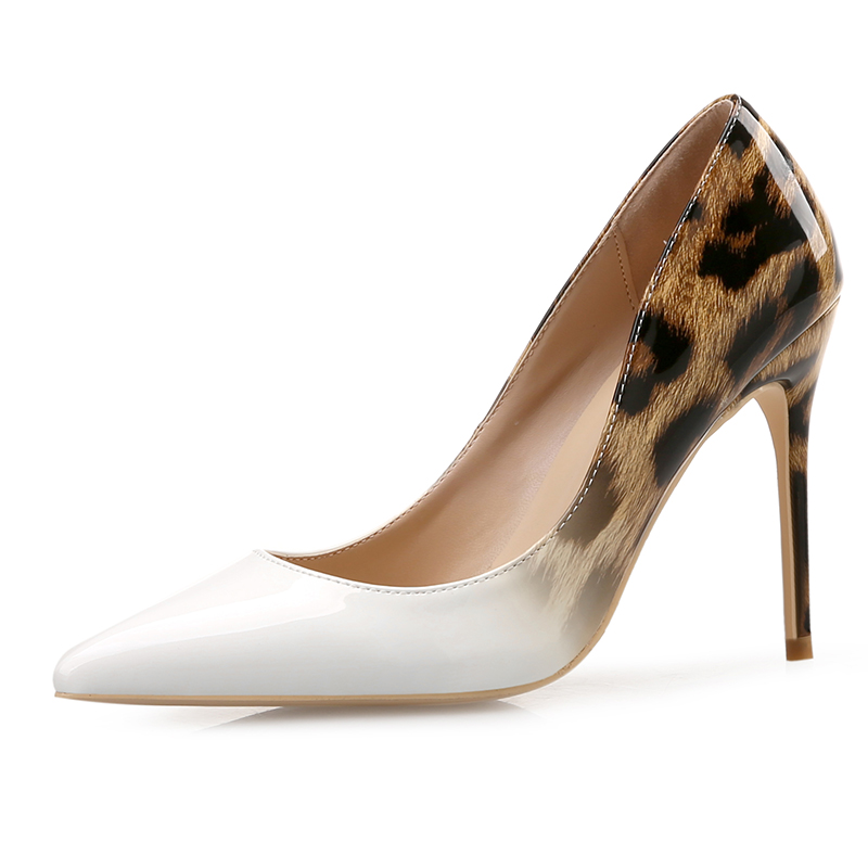 Women Gradient Leopard Pumps Sexy Stiletto Heels Patent Leather Shoes High Heels Pointed Toe Slip-on Wedding Dress Shoes shofoo handmade fashion women pointed toe low heels leopard pumps slip on shoes woman dress