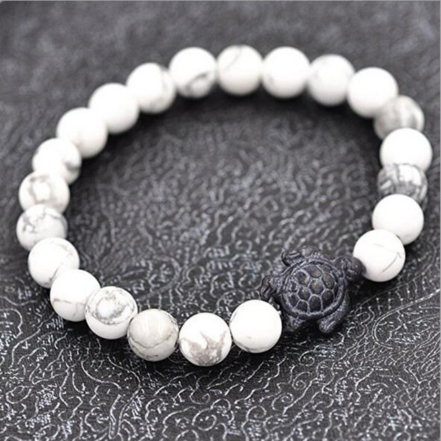 Trendy Sea Turtle White Grey Natural Stone Beads Braiding Bracelets For Women Bangles Jewelry