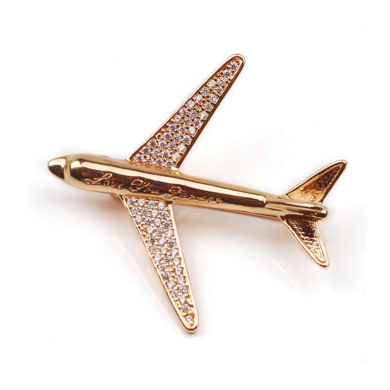 Wanita Top Kristal Pesawat Bros Pria Kualitas Tinggi Berlian Imitasi Pin Terbaik Hadiah Pesta Pesawat Bros H1281