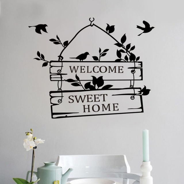 Welcom a sweet home pájaro pegatinas de pared decoración para el hogar sala de estar decoracion pegatina extraíble vinly vinilos paredes