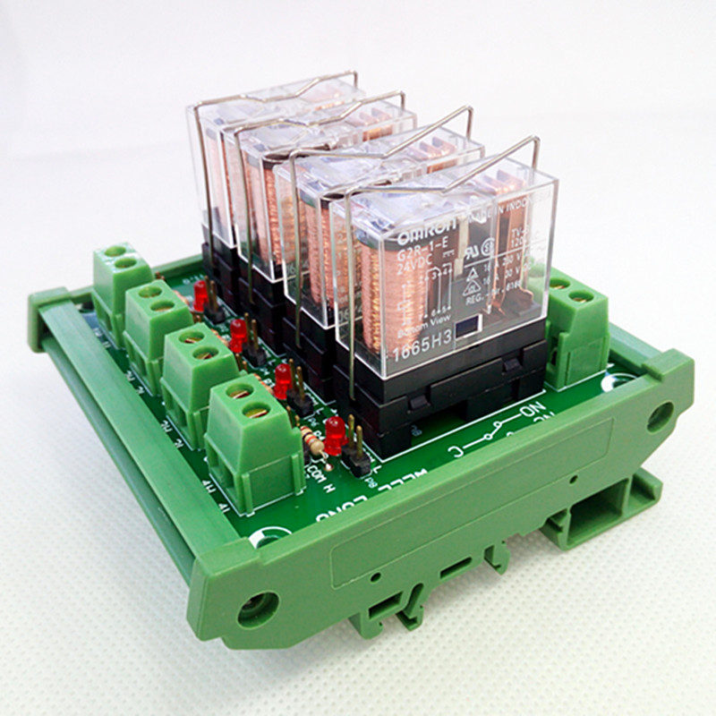 цена на DIN Rail Mount 4 SPDT 16A Power Relay Interface Module,OMRON G2R-1-E DC24V Relay.