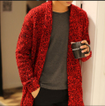 New brand fashion casual Men's spring and autumn long sweater male sweater coat knit cardigan jacket tide Korean sweater warm