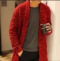Nueva marca moda casual hombres de primavera y otoño suéter largo para hombre abrigo suéter de punto cardigan chaqueta marea suéter suéter coreano caliente
