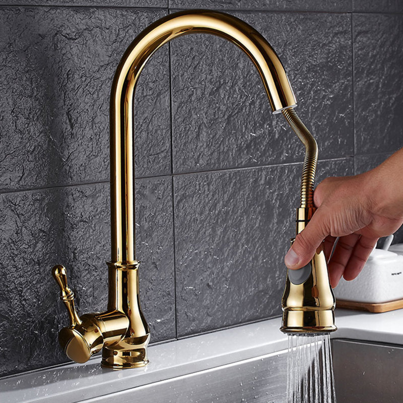 цена на Plating Titanium Gold Kitchen Faucet Pull Out Single Lever Kitchen Sink Tap Wash Basin Bathroom Faucets cold and hot water mixer