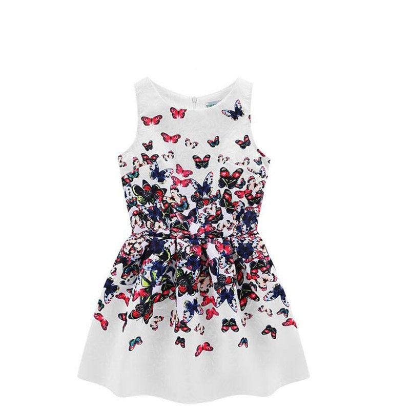 ₪2018 verano moda casual niñas vestido de impresión vintage patrón ...