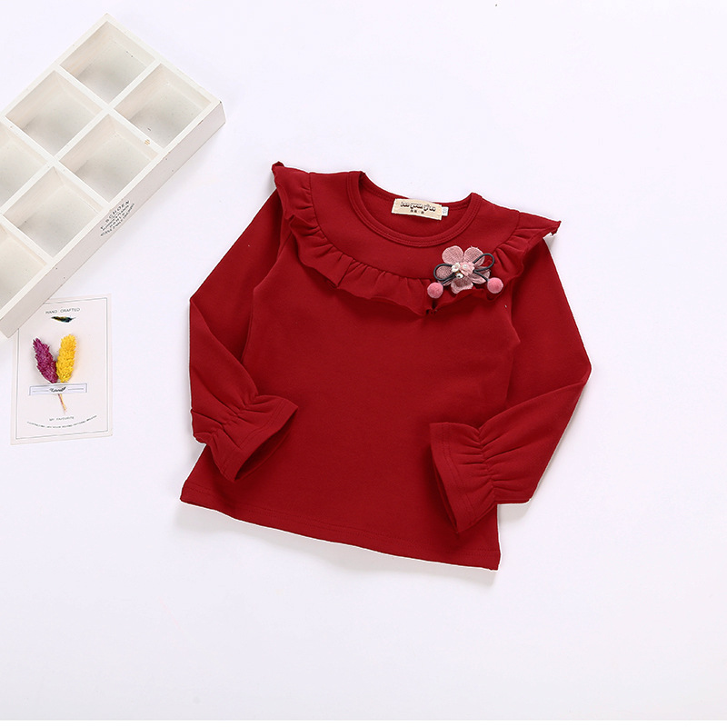 kids girl Tshirts Girls all-match long sleeved subcoating baby cotton blouse Bottoming shirt 4-12yrs