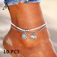 Fashion Elephant Pendant Anklets for Women Vintage Multiple Layers Sun Beads Ankle Bracelet Bohemian Foot Jewelry Gift Wholesale(China)
