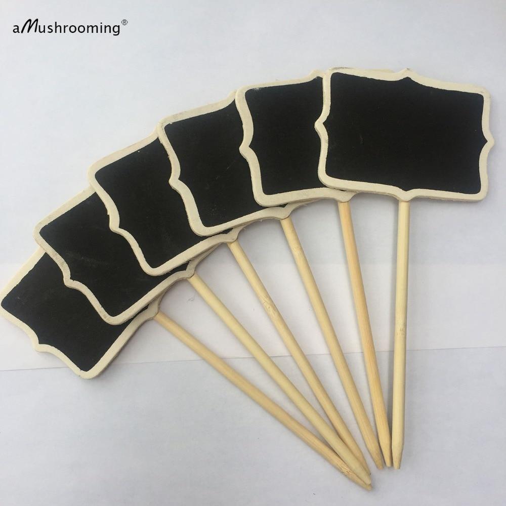 6 X Mini Chalkboard Cake Toppers Wooden Blackboard